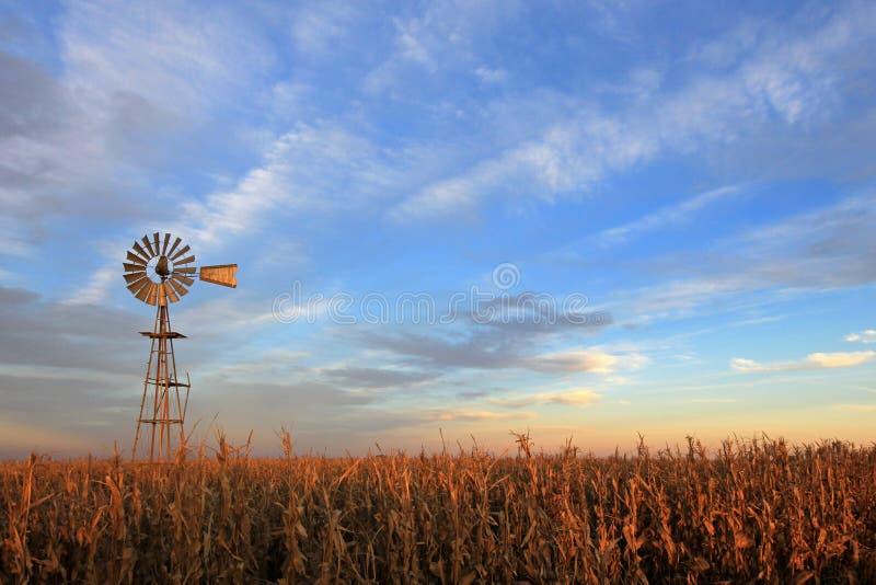 Moulin à vent de westernmill de style du Texas au coucher du soleil, Argentine photo libre de droits