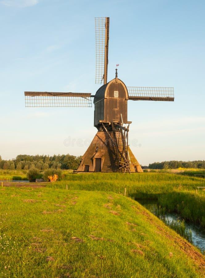 Moulin à vent hollandais dans la lumière d'or de matin images libres de droits