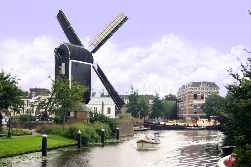 Moulin à vent interne de ville de Leyde photographie stock