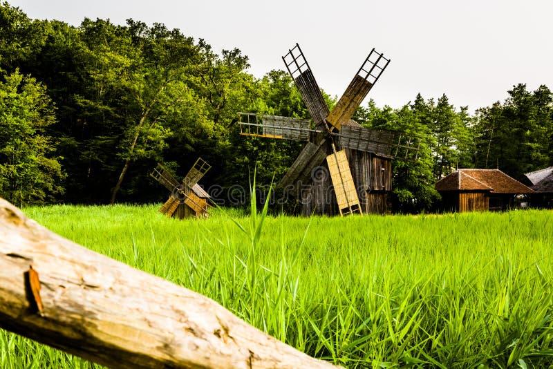 Moulin à vent, musée de village, Sibiu photographie stock libre de droits