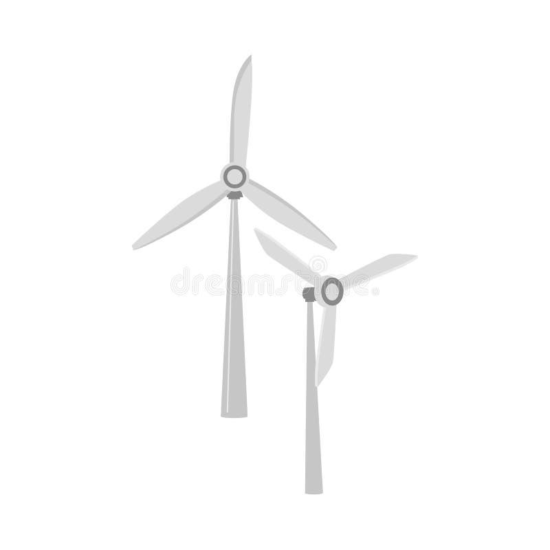 Moulin à vent plat de vecteur, turbine de vent illustration stock