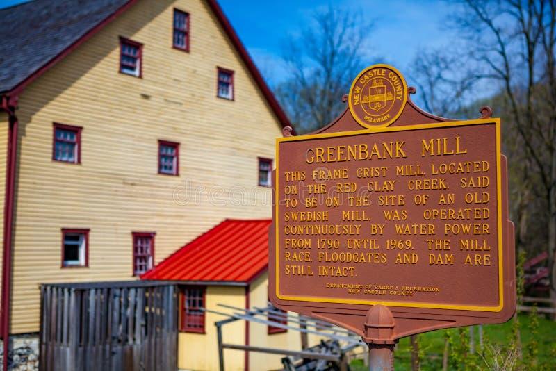Moulin de Greenbank avec le signe historique photo stock