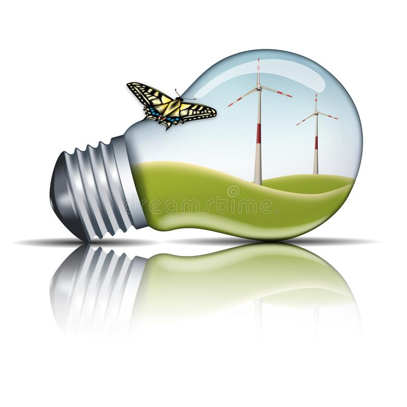 Moulin de vent dans une ampoule avec sur l'extérieur un papillon, concept vert d'énergie image stock