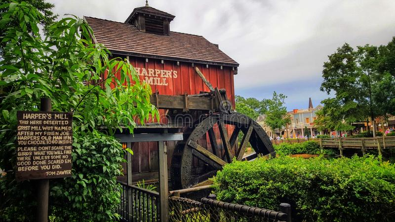 Moulin du ` s de harpiste sur Tom Sawyer Island images stock
