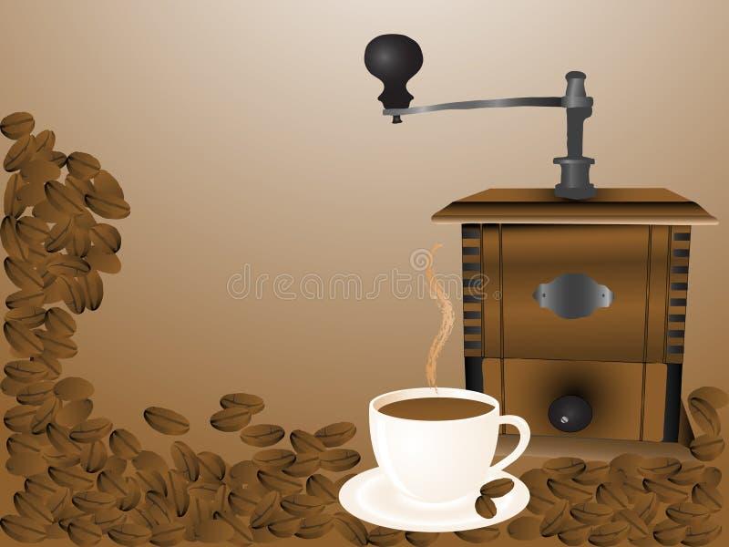 Moulin et cuvette à café illustration de vecteur