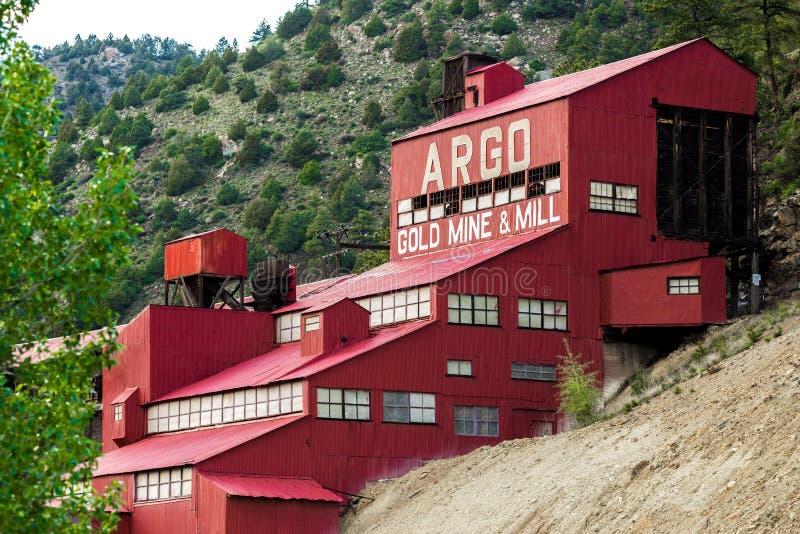 Moulin historique de mine d'or d'Argo image libre de droits