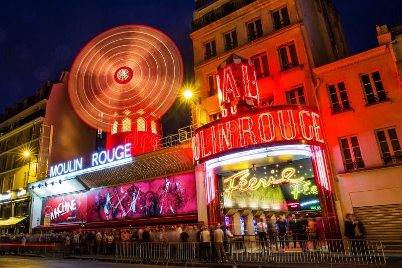 Moulin Rouge Paris. Moulin Rouge cabaret, night view Paris, France