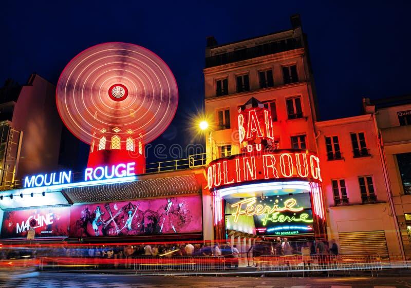 Moulin Rouge cabaret, Paris, France at night stock photo