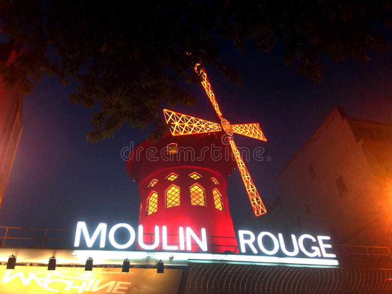 The Moulin Rouge. Moulin Rouge (French for Red Mill) is a cabaret in Paris, France. Close to Montmartre in the Paris district of Pigalle on Boulevard de Clichy royalty free stock photos