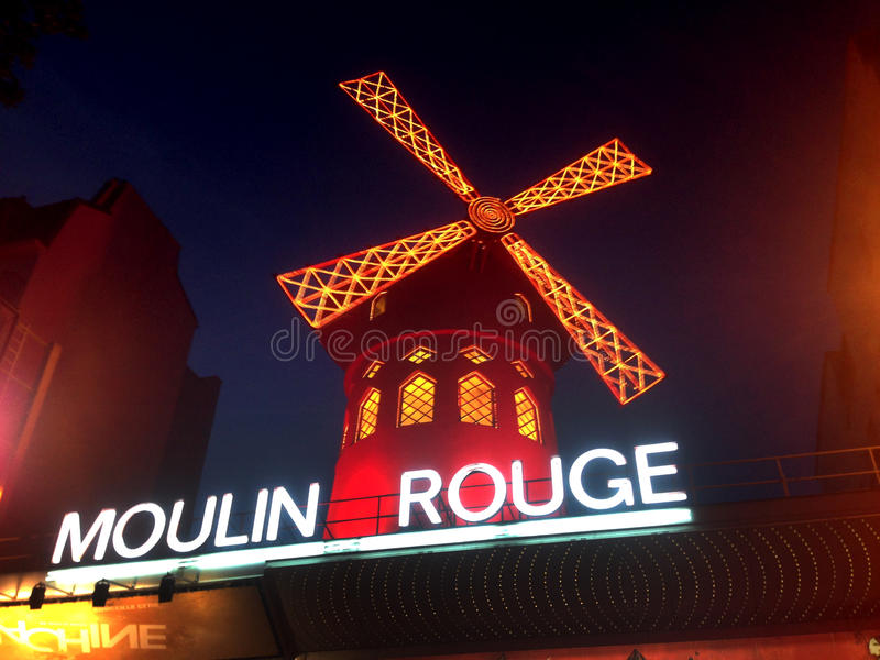 The Moulin Rouge. Moulin Rouge (French for Red Mill) is a cabaret in Paris, France. Close to Montmartre in the Paris district of Pigalle on Boulevard de Clichy royalty free stock photography