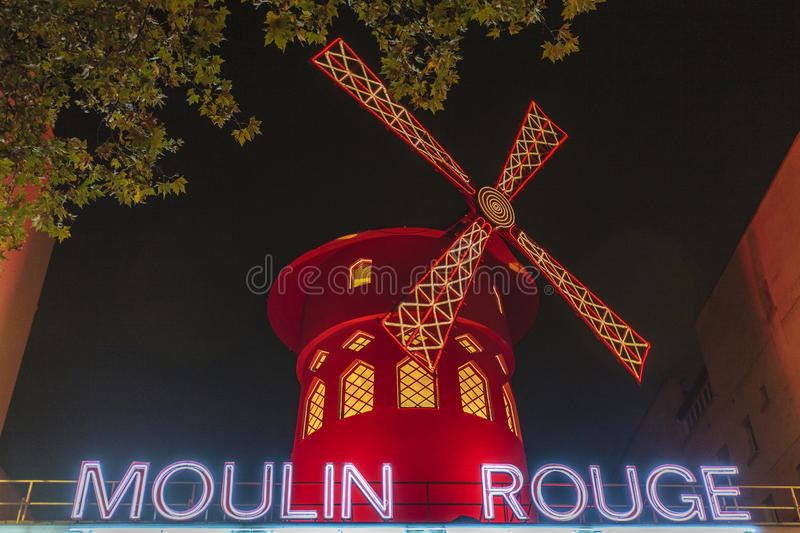 Moulin Rouge at night - Paris - France stock photos