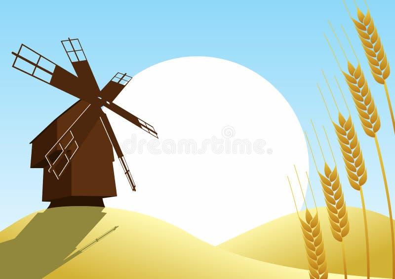 Moulin sur le fond du blé fields-1 illustration stock
