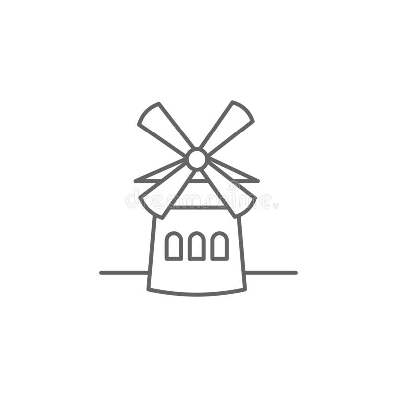 Moulin, windmill icon. Element of Paris icon. Thin line icon for website design and development, app development royalty free illustration
