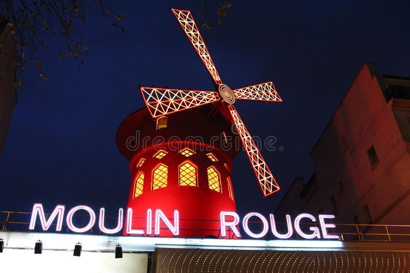 Moulinrouge van Parijs stock afbeeldingen