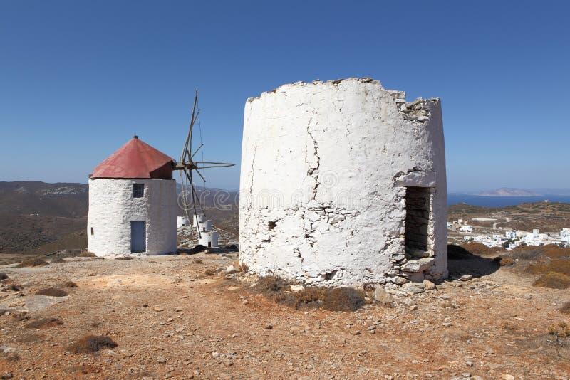 Moulins à vent de Grecs images stock