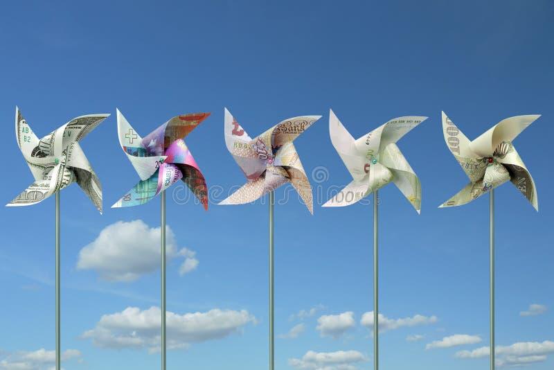 Moulins à vent de jouet d'argent photos libres de droits