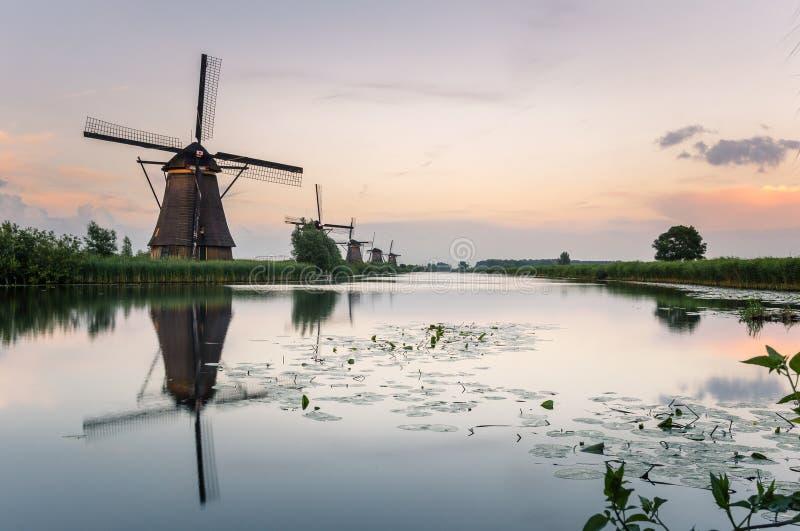 Moulins à vent de Kinderdijk au crépuscule et à la réflexion dans l'eau photo libre de droits