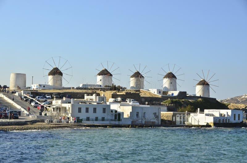 Moulins à vent de Mykonos - Grèce images libres de droits