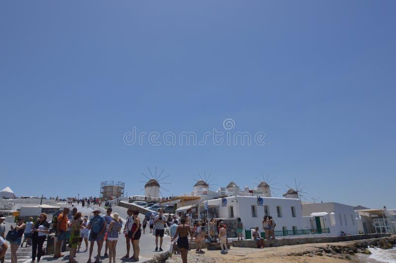 Moulins à vent en île de Chora de Mykonos Arte History Architecture photo libre de droits