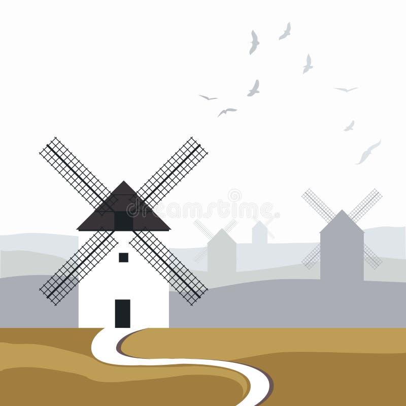 Moulins à vent espagnols typiques Route dans le premier plan et paysage avec des oiseaux au-dessus du ciel à l'arrière-plan illustration libre de droits