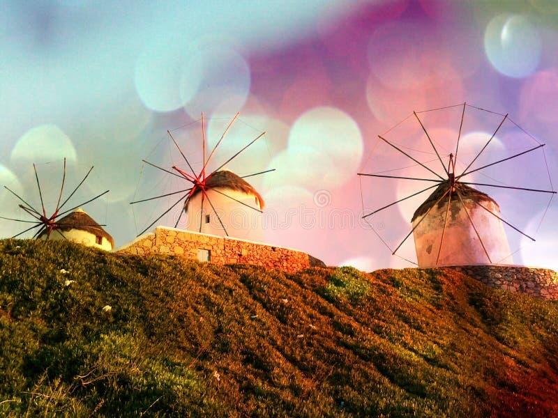 Moulins à vent magiques de Mykonos image libre de droits