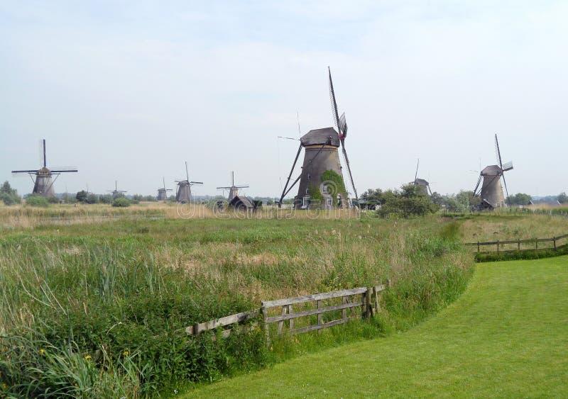 Moulins à vent néerlandais historiques chez Kinderdijk, Pays-Bas photo libre de droits