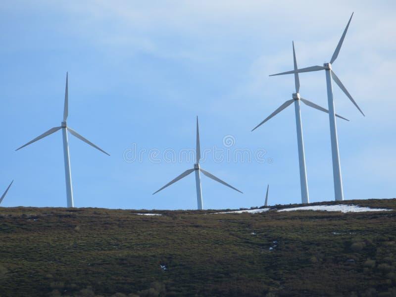 Moulins à vent pour produire de l'électricité et pour améliorer nos vies image stock