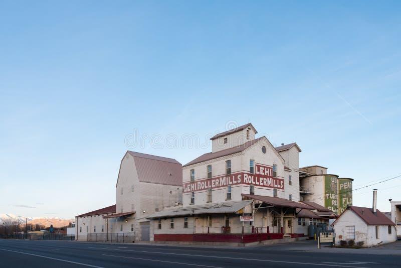 Moulins de rouleau de Lehi un landmdark dans la petite ville de l'Utah images libres de droits