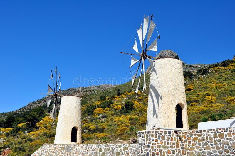 Moulins de vent en Crète images stock