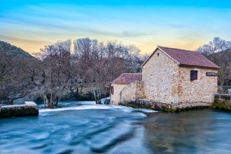 Moulins en parc national Krka photographie stock libre de droits