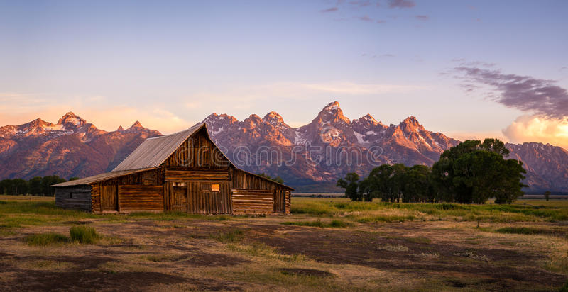 Moulton Barn on Mormon Row, Grand Teton National Park, Wyoming. Rustic wooden Moulton Barn on Mormon Row in Grand Teton National Park, Wyoming at sunset royalty free stock photos