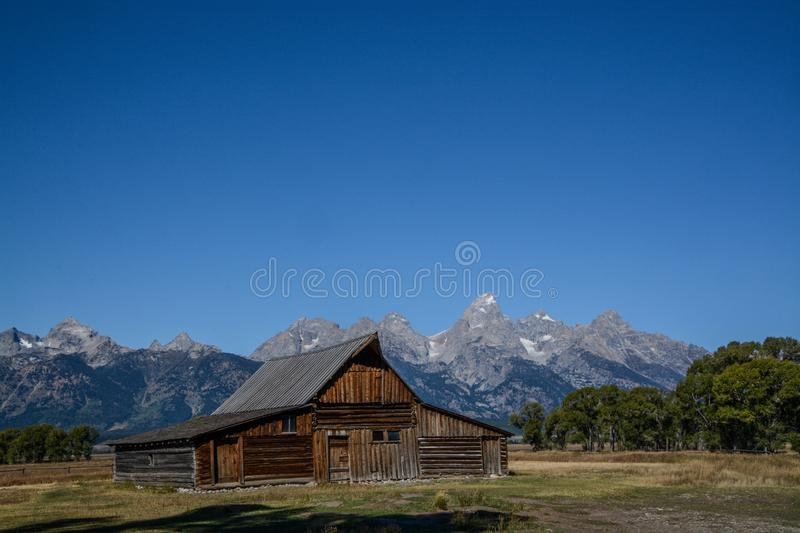 Moulton Barn on Mormon Row. A view of the Moulton barn located on Mormon Row in Grand Teton National Park royalty free stock photo