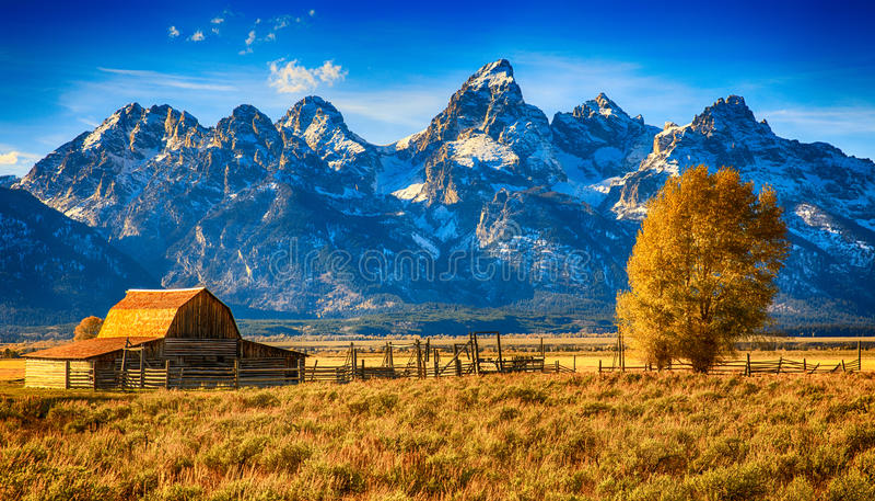 Moulton ladugård storslagna Teton, Wyoming arkivbild