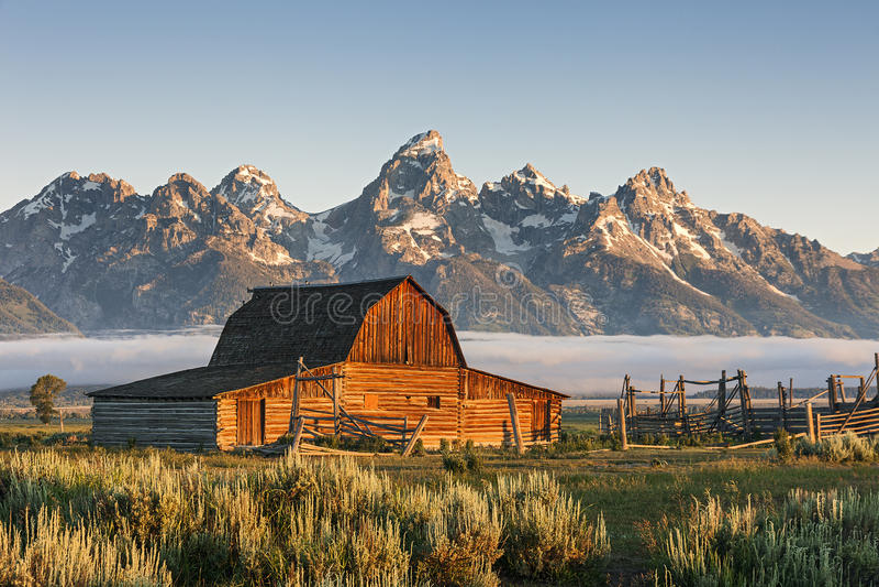 Moulton-Scheune im großartigen Teton, WY lizenzfreies stockbild