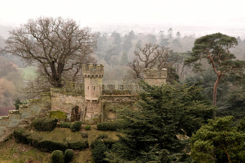 The Mound - Warwick Castle. The Mound at Warwick Castle on a foggy day in Winter stock photos