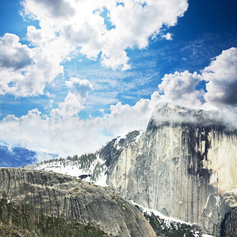 Mount. Halfdome mount in the Yosemite stock photography