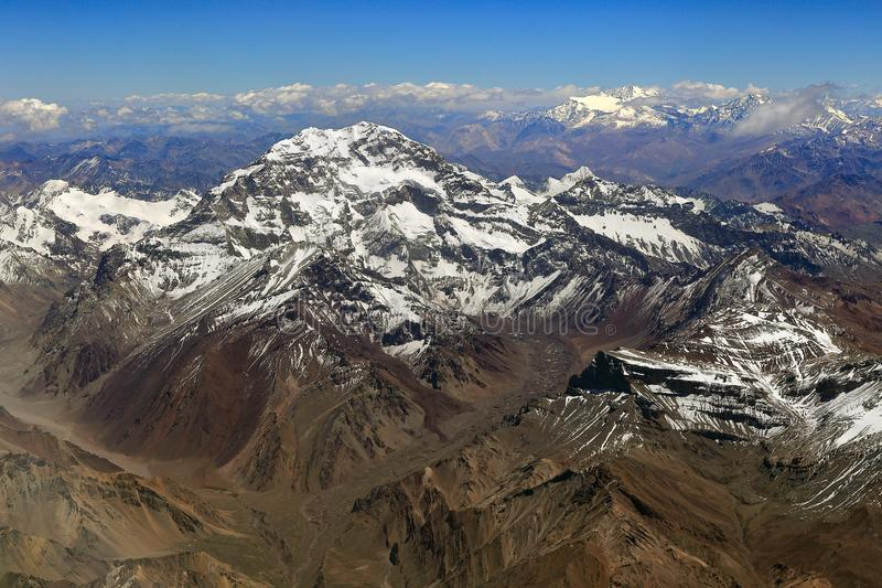 Mount Aconcagua. Andes mountains in Argentina. Mount Aconcagua in summer. Aerial view. Andes mountains in Argentina. The highest point of all the americas stock photo