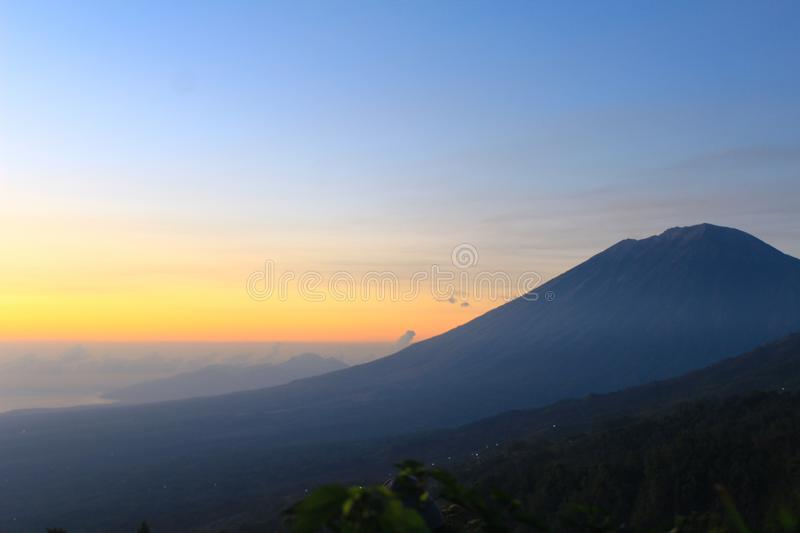 Mount Agung, Bali, Indonesia. Sunset in Mount Agung Bali, Indonesia stock images