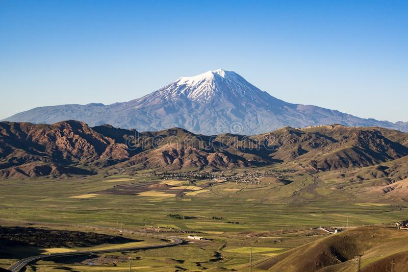 Mount Ararat, Agri Dagi, mountain, volcano, Igdir, Turkey, Middle East, nature, landscape, aerial view, Noah, Ark. Igdir, Turkey, Middle East: breathtaking view stock images