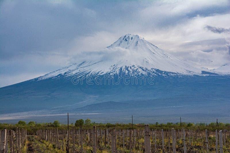 Mount Ararat Sluttningarna av det bibliska berget, som är en utdöd vulkan Big Ararat, Masis royaltyfri fotografi