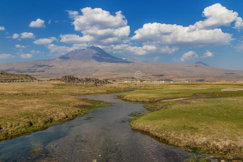 Mount Ararat, at the Turkish-Armenian border royalty free stock image