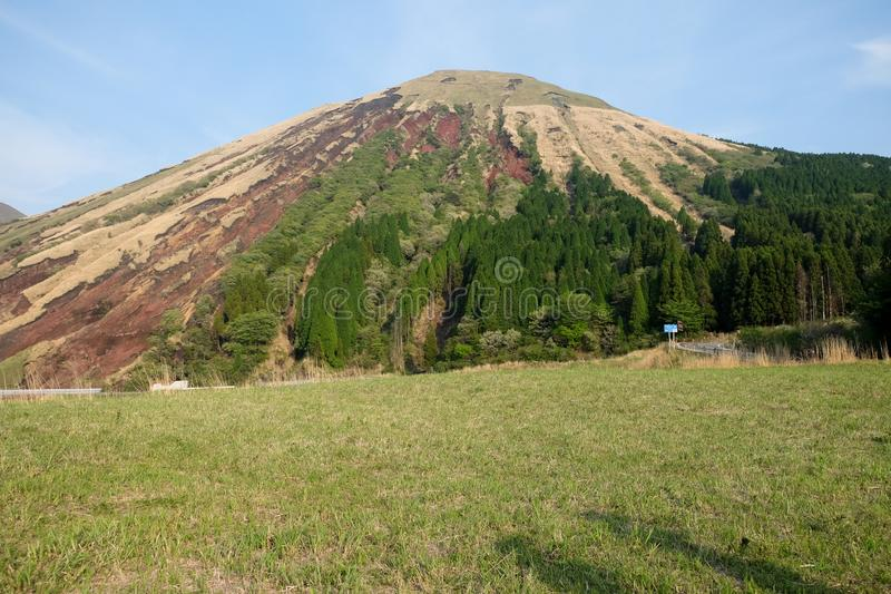 Mount Aso (Aso-san), the largest active volcano in Japan stands in Aso Kuju National Park, Aso (Aso-shi) stock image