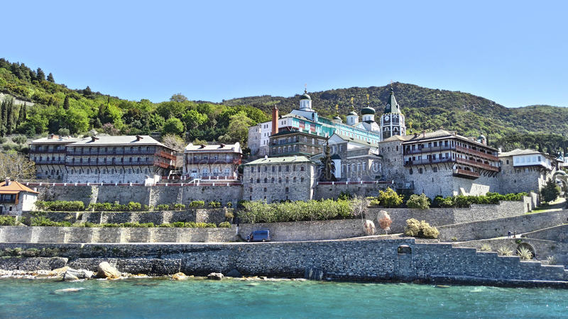 Mount Athos, Chalkidiki Greece - Monastery of St. Panteleimon. stock photos