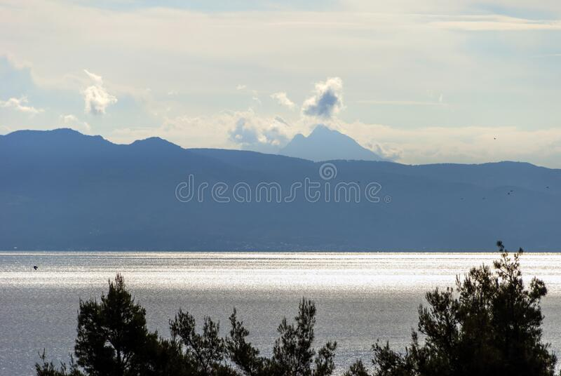 Mount Athos from a distance stock photo