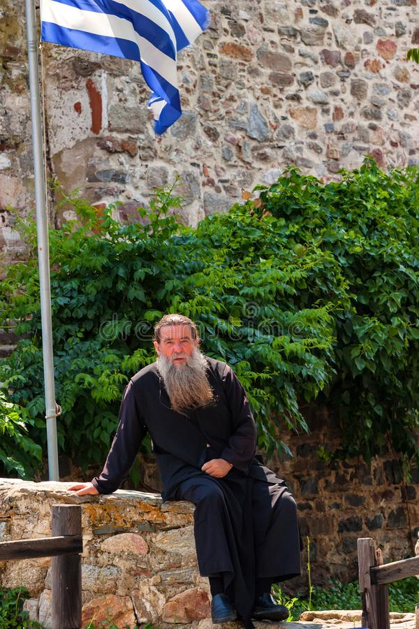 MOUNT ATHOS, GREECE - JUNE 2012: Orthodox priest royalty free stock image