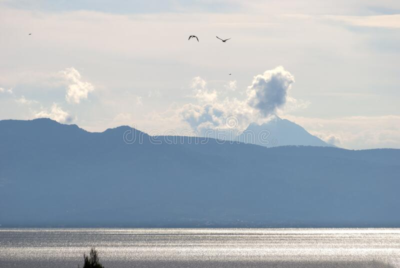 Mount Athos from a distance stock images