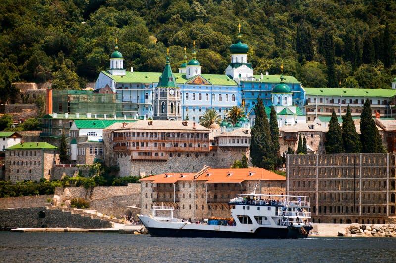 Mount Athos, St Panteleimon monastery. St Panteleimon (the Russian Monastery), Mount Athos, Macedonia, Greece stock image