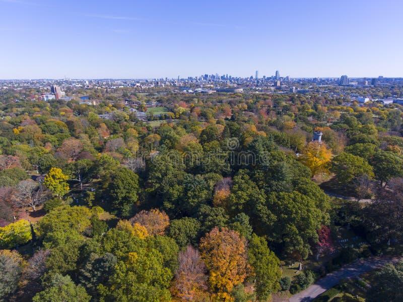 Mount Auburn Cemetery, Watertown, Massachusetts, USA. Mount Auburn Cemetery and Boston skyline in fall, Watertown, Greater Boston Area, Massachusetts, USA stock image