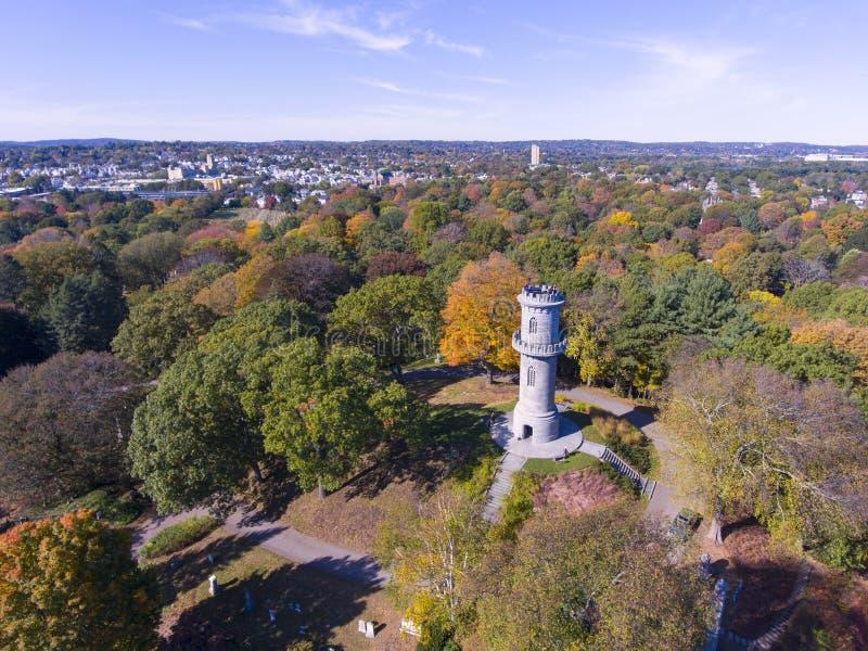 Mount Auburn Cemetery, Watertown, Massachusetts, USA. Washington Tower in Mount Auburn Cemetery in fall, Watertown, Greater Boston Area, Massachusetts, USA stock photography