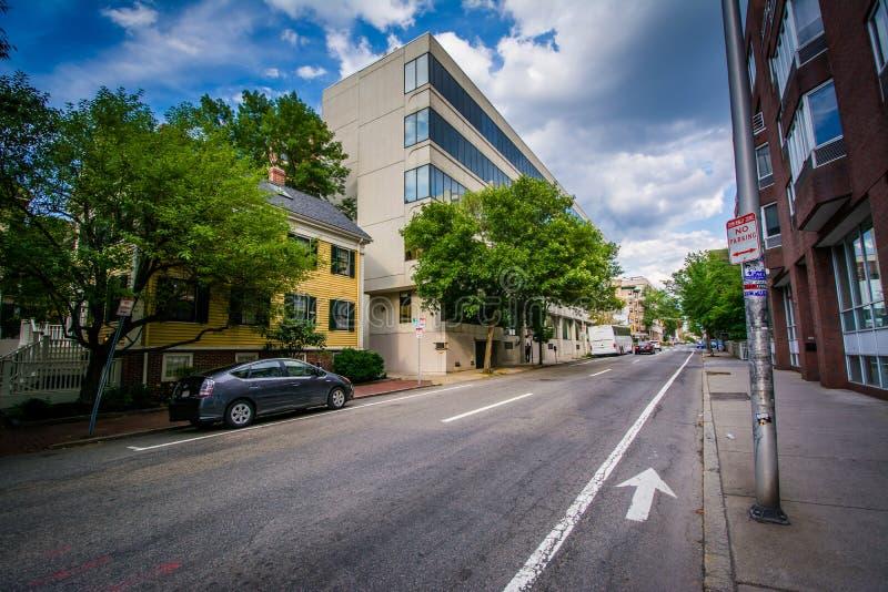 Mount Auburn Street, near Harvard Square, in Cambridge, Massachusetts. stock image